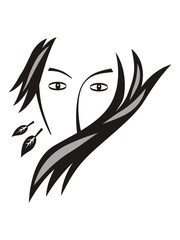 Romantic image of a woman. Female image, laconic symbol. Fashion.  Vector drawing. Black and white