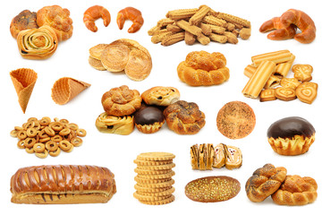 Set bread products (biscuits, cookies, cupcake, roll) isolated on white background.