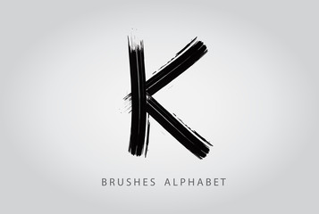 Letter K Brush Logo Design.Concept