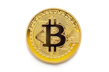 golden one bitcoin btc isolated on white background, concept of digital business currency and mining