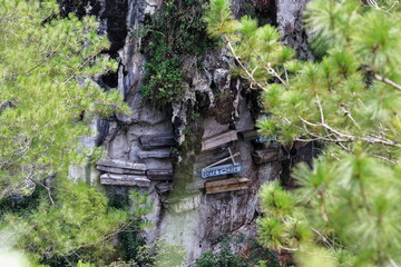 Hanging coffins of the Igorot indigenous people. Sagada-Mountain province-Philippines. 0227