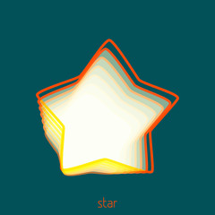 Abstract outline star with thin orange and yellow contour. Linear vector emblem