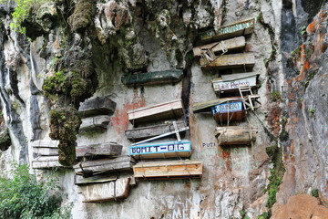 Hanging coffins of the Igorot indigenous people. Sagada-Mountain province-Philippines. 023