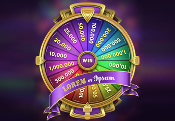 Rainbow Spinning Wheel Game Mockup