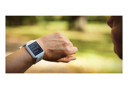 Mockup of Smartwatch User in Nature