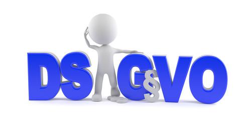 Datenschutzgrundverordnung (DS-GVO) mit Paragraphenzeichen und weißen Männchen