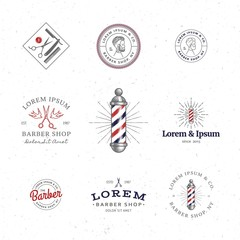 Set of Minimal Vintage Hipster Logotype Templates. Black on White Color. Barber Shop