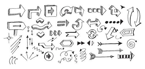 Arrows doodles hand-drawn sketch set