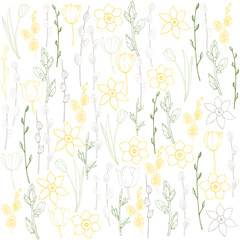 Spring vector background  with tulips and daffodils.