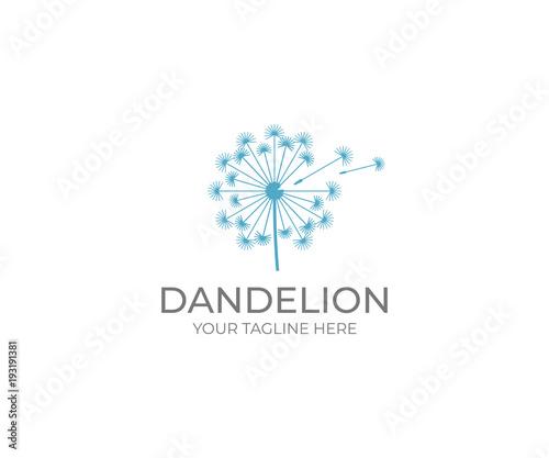 dandelion logo template taraxacum flower vector design blowball