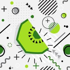 Trendy seamless, Memphis style kiwi geometric pattern, vector illustration