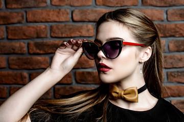 stylish girl in sunglasses