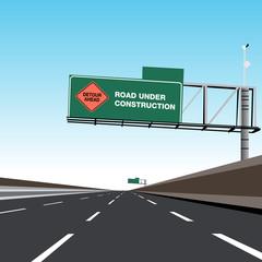 Empty Freeway Road Under Construction Detour Sign