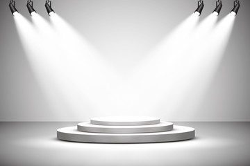 Vector Spotlights. Scene. Light effects. podium. Exit to the stage for applause, a bright light of searchlights.