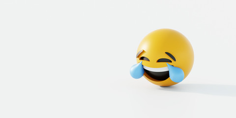 Happy and crying emoticon 3d rendering background, social media and communications concept