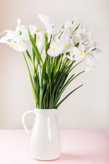 Beautiful White Iris Flowers in the Vase