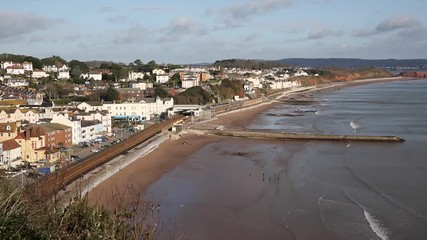 Wall Mural - Dawlish Devon England uk English coast town with beach railway train and sea