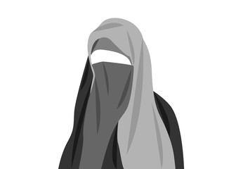 beautiful portrait of arabic muslim woman closed face veil, vector illustration isolated or white background