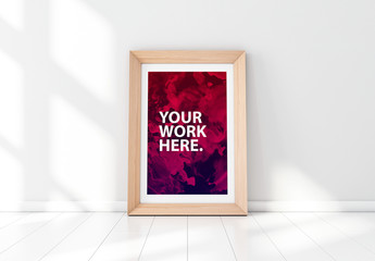 Wooden Framed Poster in Empty Room Mockup 3