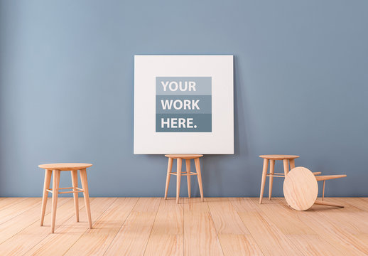 Square Canvas Mockup on Wooden Barstool 2
