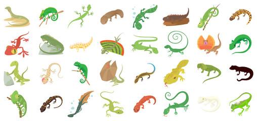 Lizard icon set, cartoon style