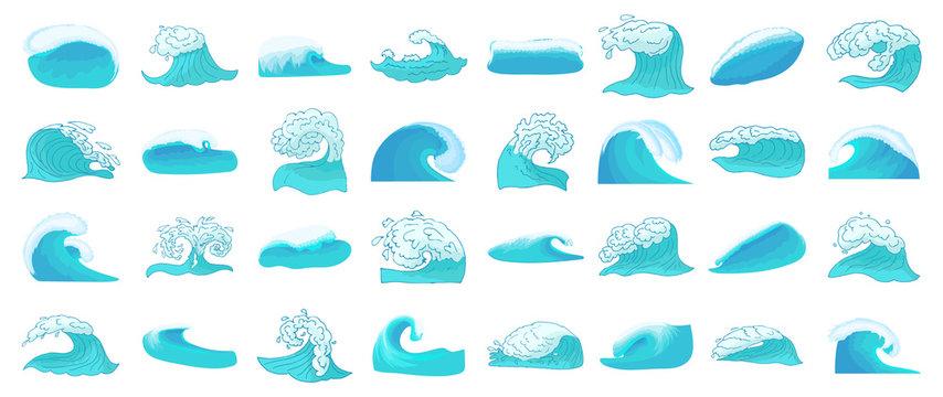 Wave icon set, cartoon style
