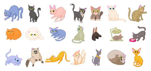 Cats icon set, cartoon style