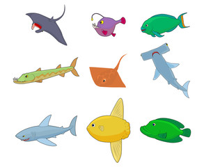 Sea fish icon set, cartoon style