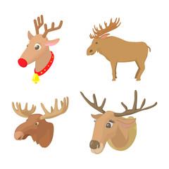 Deer icon set, cartoon style
