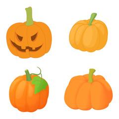 Pumpkin icon set, cartoon style