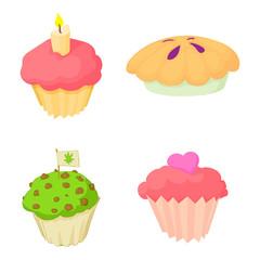 Cupcake icon set, cartoon style