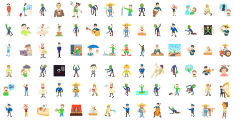 Men characters icon set, cartoon style