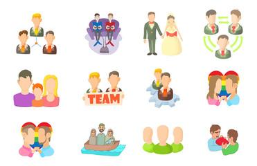 People group icon set, cartoon style