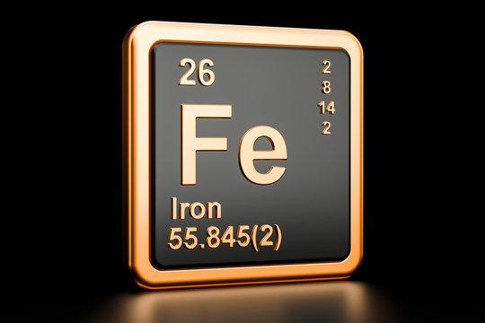 Ferrum iron Fe chemical element. 3D rendering