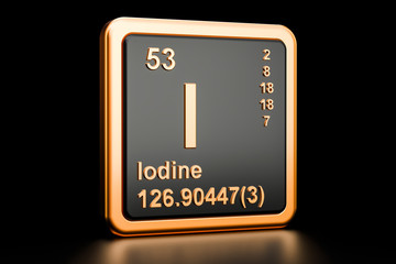 Iodine I stibium chemical element. 3D rendering