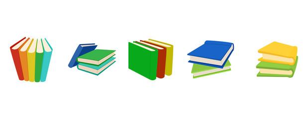Book group icon set, cartoon style