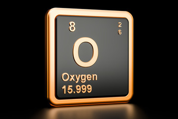 Oxygen O chemical element. 3D rendering