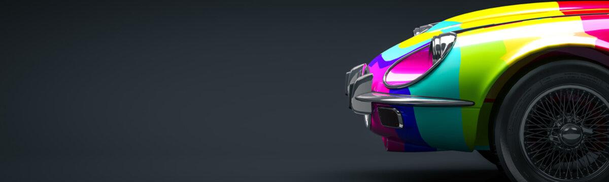 Multicolored car 3d illustration