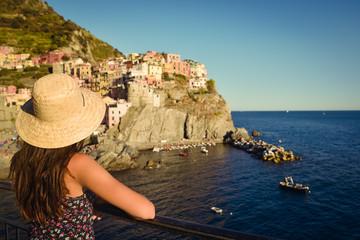Girl watching a beautiful seascape