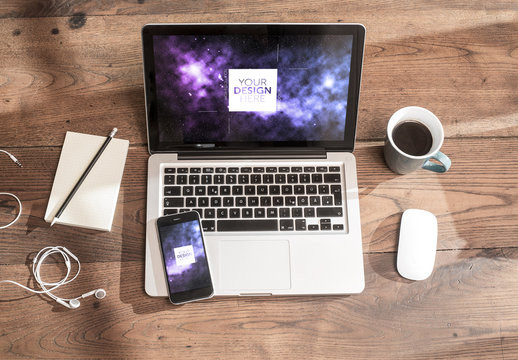 Laptop, Smartphone and Headphones on Wooden Table Mockup 1