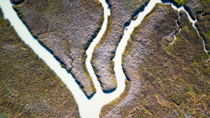 Drone view of a delta where the river with its multiple branches flows into the sea