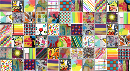 Abstract Multicolored Background made with Small illustrations