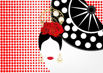 Vector Portrait of traditional Latin or Spanish woman dancer , Lady with gold accessories peineta, earrings and red flower , Flamenco Icon with traditional fan. Red polka dot background