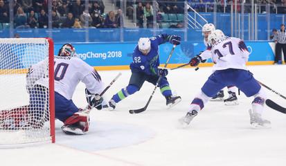 Olympics: Ice Hockey-Men Team Qualification Match for Quarterfinal - SLO-NOR
