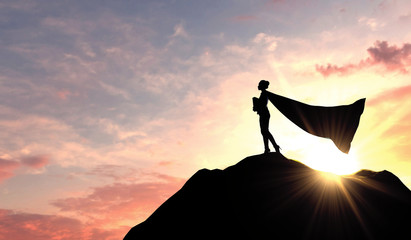 Silhouette of a superhero business woman wearing a cape against a bright sky. 3D Rendering Wall mural