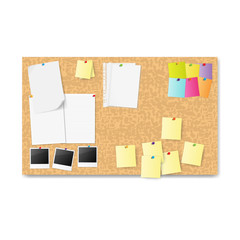 notice board with notes. vector illustration