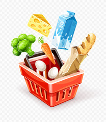 Poster Shopping basket. Organic food sale concept. Goods products