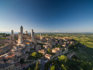 In the very heart of Tuscany - Aerial view of the medieval town of Montepulciano, Italy.