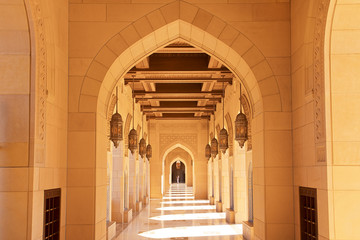 Islamic architecture at Sultan Qaboos Grand Mosque in Muscat Oman
