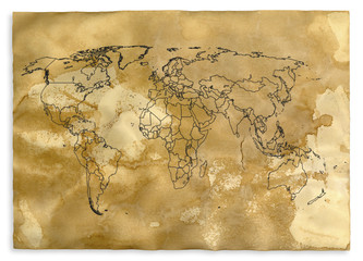 World map on a scroll paper